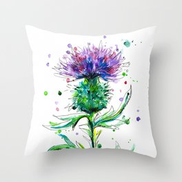 Watercolor Thistle Throw Pillow