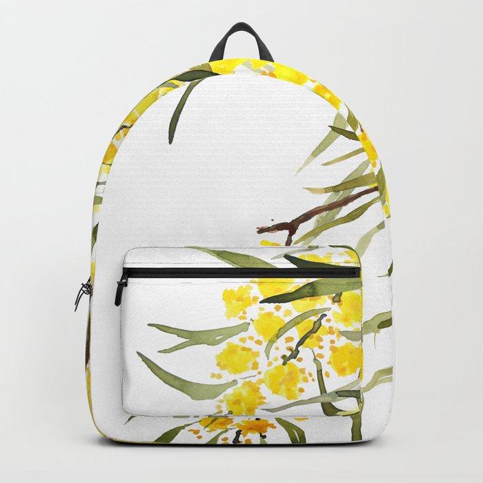 Godlen wattle flower watercolor Backpack