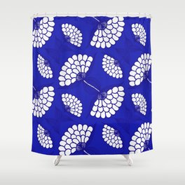 African Floral Motif on Royal Blue Shower Curtain