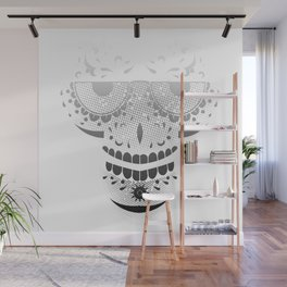 Sugar Skull - Day of the dead bw Wall Mural