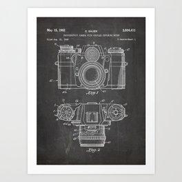 Camera Patent - Photography Art - Black Chalkboard Art Print