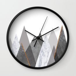Marble Gray Copper Black and White Mountains Wall Clock