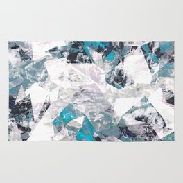 Textured blue white marble wall Rug