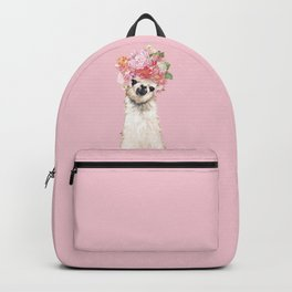 Llama with Flower Crown in Pink Backpack