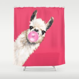 Bubble Gum Sneaky Llama in Red Shower Curtain