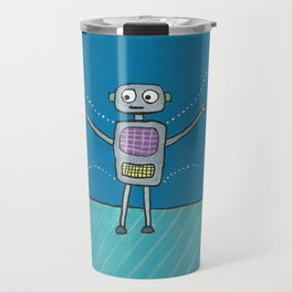 Robot with Invisible Wings Travel Mug