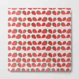 strawberry fruit illustration vector pattern Metal Print