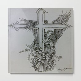 Angel with Cross Metal Print