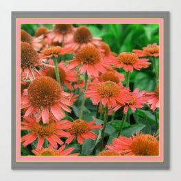 Coral Echinacea Garden Flowers Canvas Print
