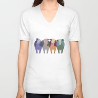 cows V-neck T-shirts featuring Confused Cows by TypicalArtGuy