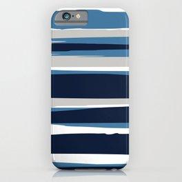 Ocean Beach Striped Landscape, Navy, Blue, Gray iPhone Case