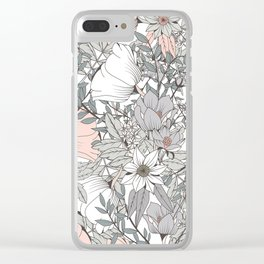 Farmhouse Chic Blush Pink and Grey Floral Pattern Clear iPhone Case
