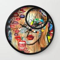 poker Wall Clocks featuring Poker Face by Katy Hirschfeld