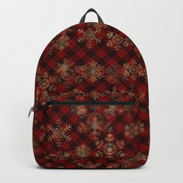 Rudolph Red Plaid Have a Holly, Jolly CHRISTMAS typography Backpack