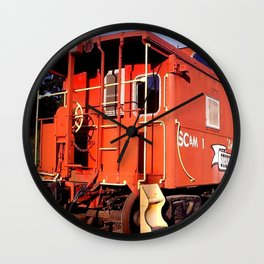 Lil Red Caboose -Wellsboro Ave Hurley ArtRave Wall Clock