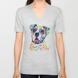 Boxer Colorful Watercolor Pet Portrait Painting Unisex V-Neck