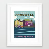 travel poster Framed Art Prints featuring Cornwall vintage travel poster by Nick's Emporium