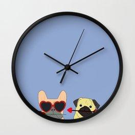 Pug and Bulldog Love Wall Clock