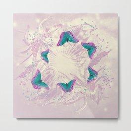 Abstract beautiful retro butterflies swarm over faded wattle Metal Print