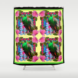 PINK ROSES & GREEN PEACOCK YELLOW GARDEN FLORAL ABSTRACT Shower Curtain