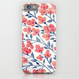 Cherry Blossoms – Melon & Navy Palette iPhone Case