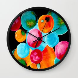 Abstract Watercolor Bubbles with Personality Wall Clock