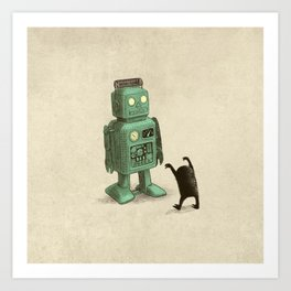 Robot vs Alien Art Print