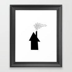 House Silhouette With Plain Smoke  Framed Art Print
