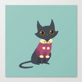 Cozy cat red Canvas Print