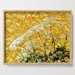 GOLDEN LACE FLOWERS FROM SOCIETY6 BY SHARLESART. Serving Tray