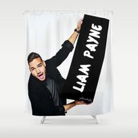 liam payne Shower Curtains featuring Liam Payne by girllarriealmighty
