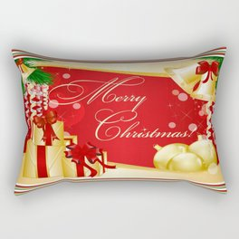 Merry Christmas Greeting With Gifts Bows And Ornaments Rectangular Pillow