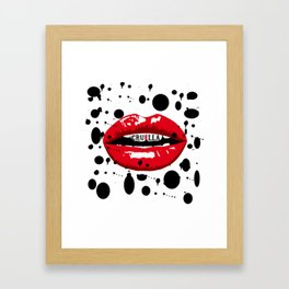 Cruella Villain Spots Red Lips Framed Art Print