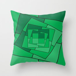 GREEN EMERALD SQUARES Abstract Art Throw Pillow