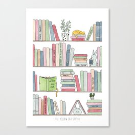 Bookshelf with cats - Watercolor illustration Canvas Print