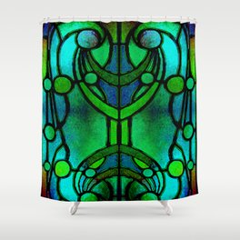 Green and Aqua Art Nouveau Stained Glass Art Shower Curtain