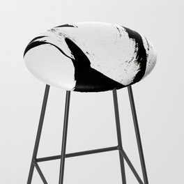 Brushstroke 6: a minimal, abstract, black and white piece Bar Stool