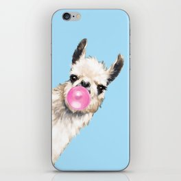 Bubble Gum Sneaky Llama in Blue iPhone Skin