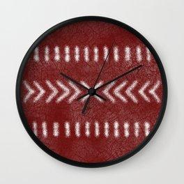 Minimalist Tribal Pattern on oxblood red Wall Clock