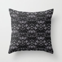 Bats And Beasts - Black and Gray  Throw Pillow