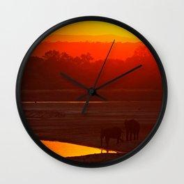 Elephants evening - Africa wildlife Wall Clock