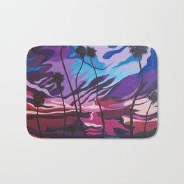 Palm Picnic, Sunset Beach, Modern Sunset, Abstract Sunset at Beach Painting Bath Mat