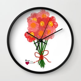 Pink Flower Bouquet for Valentines Day Wall Clock