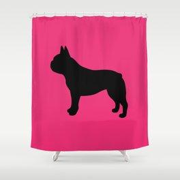 Good Frenchie French Bulldog (Pink/Black) Shower Curtain