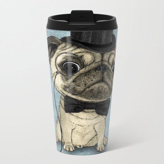 Pug; Gentle Pug (v3) Metal Travel Mug