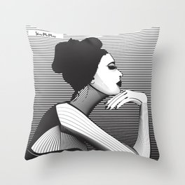 Black and White Female Throw Pillow