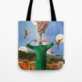 What's happening here? / collage / moon water Tote Bag