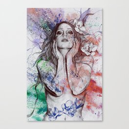 The Withering Spring: Wine (nude tattooed girl with flowers) Canvas Print