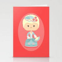 marie antoinette Stationery Cards featuring Marie Antoinette by Sombras Blancas Art & Design
