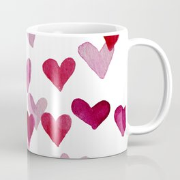 Valentine's Day Watercolor Hearts - pink Coffee Mug
